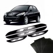 Kit Soleira Da Porta Peugeot 207 2007 a 2014 Com Black Over