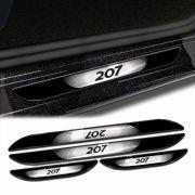 Kit Soleira Da Porta Peugeot 207 2007 a 2014 Com Black Over