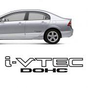 Par Adesivos Honda Civic I-Vtec Dohc Carro Emblema Preto