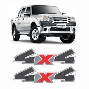 Par De Adesivos 4x4 Ford Ranger 2010/2012 Grafite/Cromado