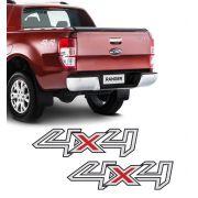 Par de Adesivos Laterais 4x4 Ford Ranger 2013 14 15 16 Prata