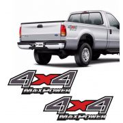 Par de Adesivos Lateral 4x4 F-250 Max Power Emblema Grafite