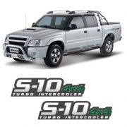 Par De Adesivos S10 2009/2011 Turbo Intercooler 4x4 Verde