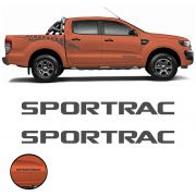 Par de Emblemas Sportrac Ford Ranger 2018 Adesivo Grafite