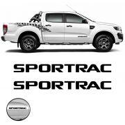 Par de Emblemas Sportrac Ford Ranger 2018 Adesivo Preto