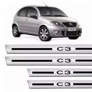 Soleira Proteção De Porta Citroen C3 04/12 Resinado Cromado