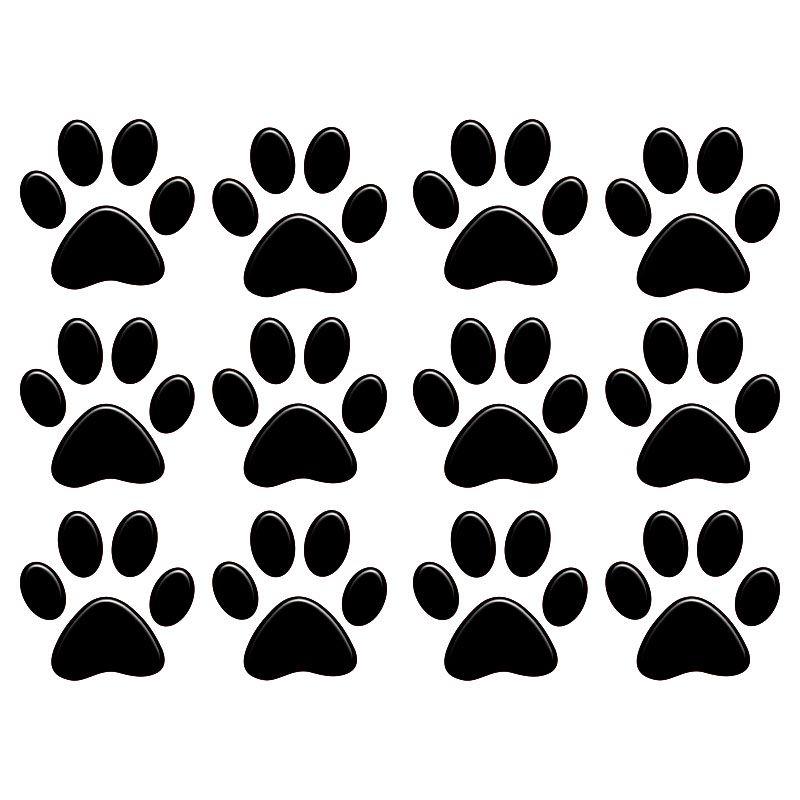 Adesivo Alto Relevo Patinha Cachorro Pet Preto 12 Unidades