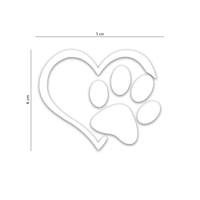 Adesivo Alto Relevo Patinha Coração Pet Branco 12 Unidades