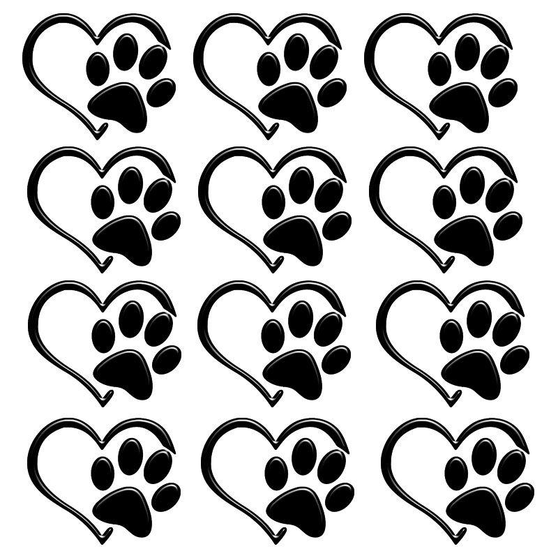 Adesivo Alto Relevo Patinha Coração Pet Preto 12 Unidades