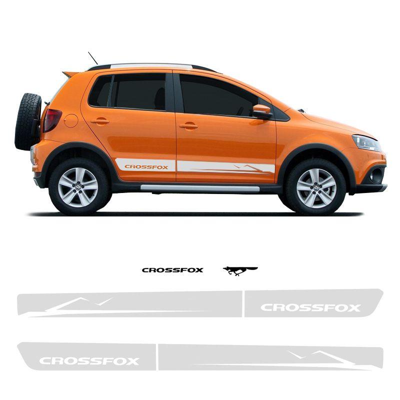 Faixa Crossfox 2010 2011 Adesivos Lateral E Traseiro Prata