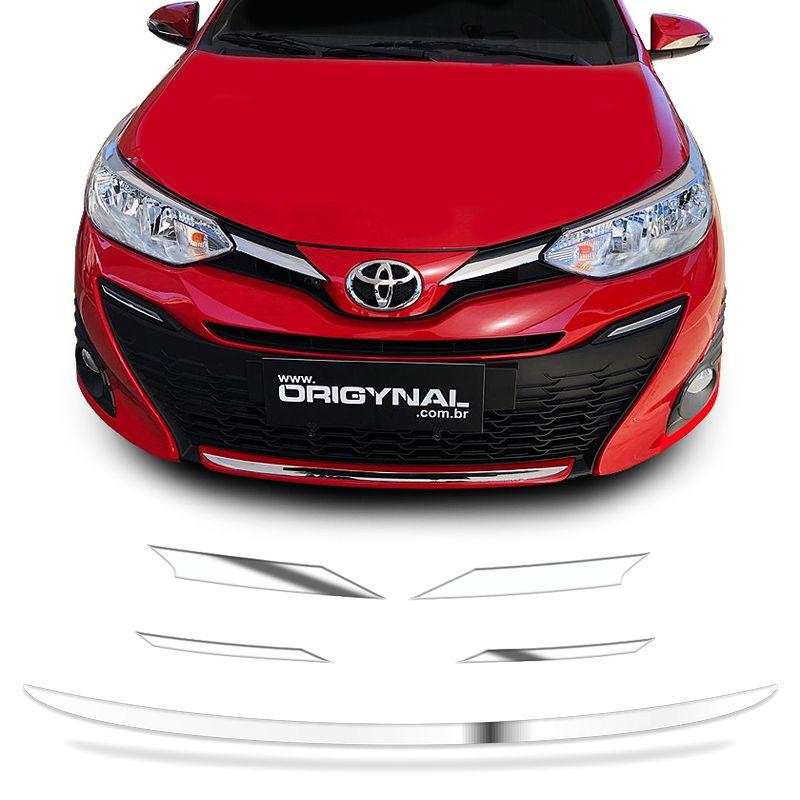 Kit Acessórios Grade Yaris Hatch Sedan + Friso Para-Choque