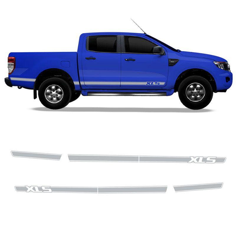 Kit Adesivo Ford Ranger Xls Faixa Lateral Prata