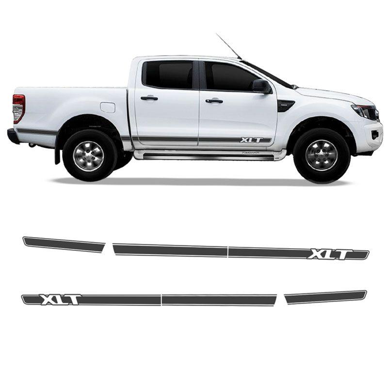 Kit Adesivo Ford Ranger XLT Faixa Lateral Grafite Decorativo