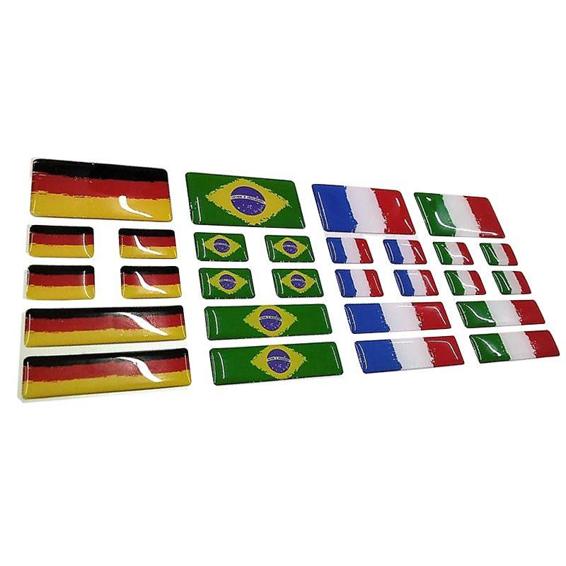 Kit Adesivo Resinado Bandeira Alemanha Placa Coluna Traseira