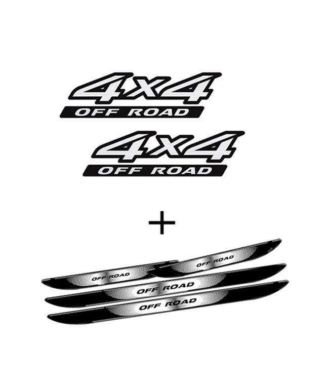 Kit Adesivos 4x4 Off Road Frontier + Soleira Com Black Over