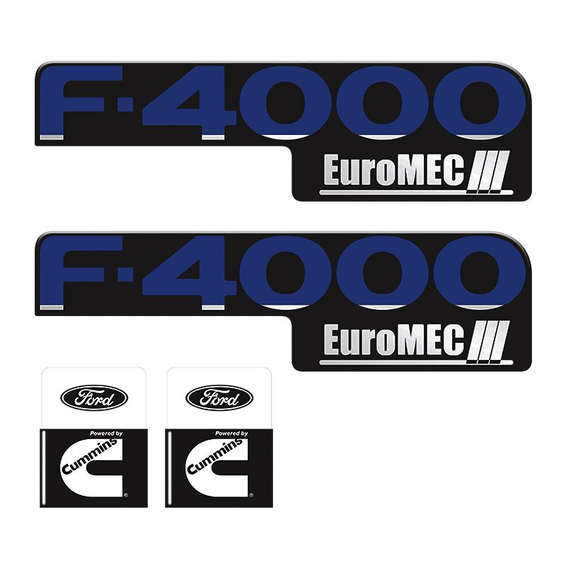 Kit Adesivos Ford F-4000 Euromec + Cummins Preto Resinados