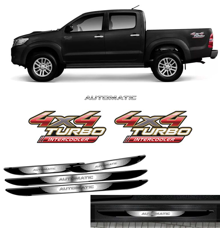 Kit Adesivos Hilux 4x4 Automatic 09/12 + Soleira Black Over