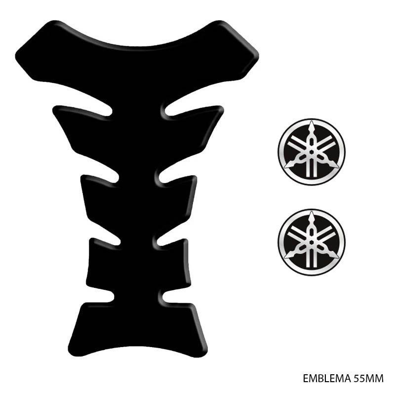 Kit Adesivos Moto Tank Pad Black + Emblemas Logo Yamaha 55mm