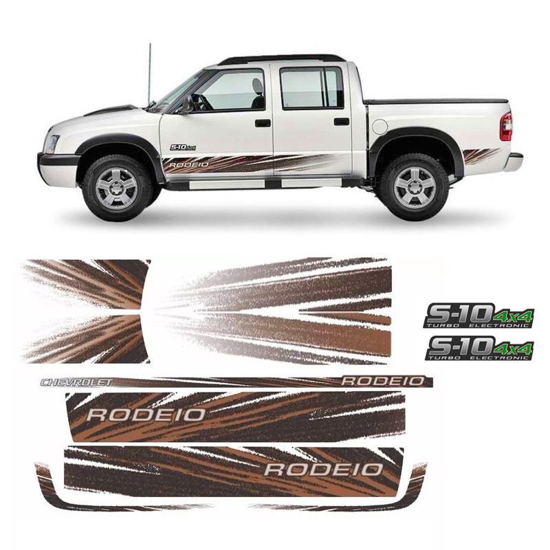 Kit de Adesivo Faixa Lateral S10 Rodeio 2011 4x4 Verde - Origynal ... 5a32237fe35