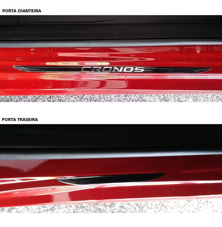 Kit Emblema Painel Fiat Cronos + Soleira Da Porta Resinado