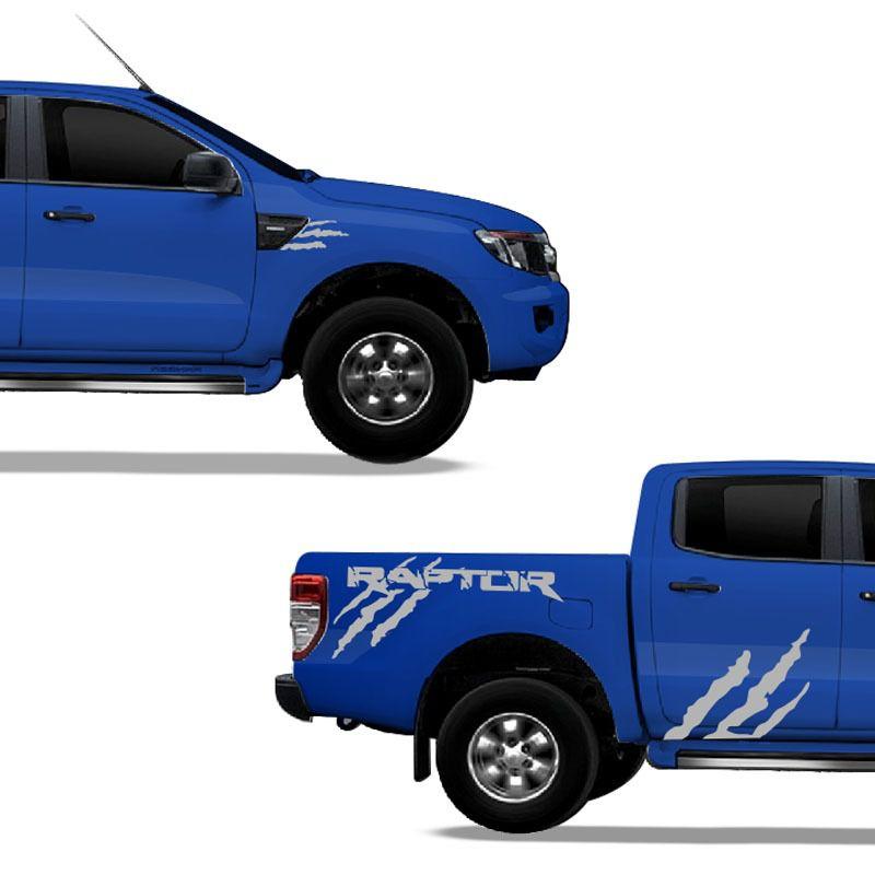 Kit Faixa Ford Ranger Raptor Adesivo Lateral Prata Tuning