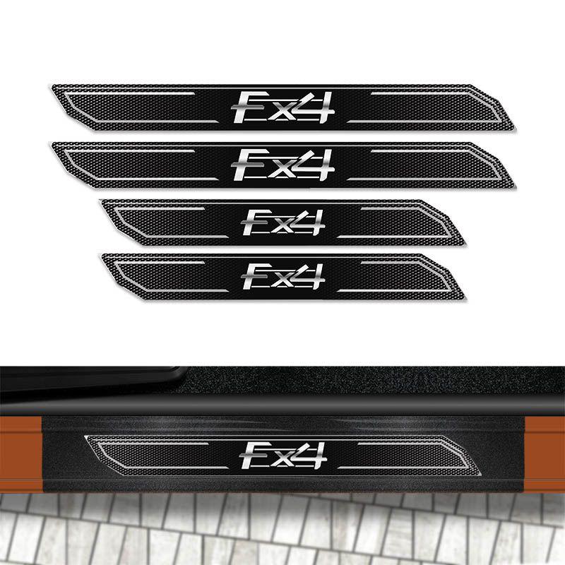 Kit Faixa Ranger FX4 Adesivo Preto + Soleira Com Protetor