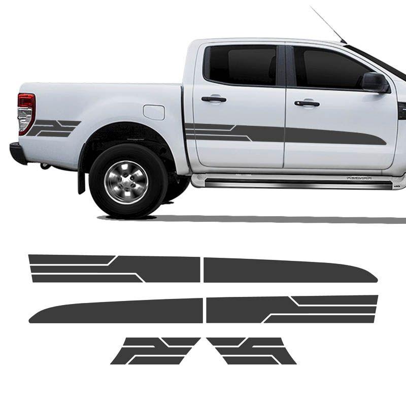 Kit Faixa Ranger Sport 14/19 Adesivo Grafite Cabine Dupla