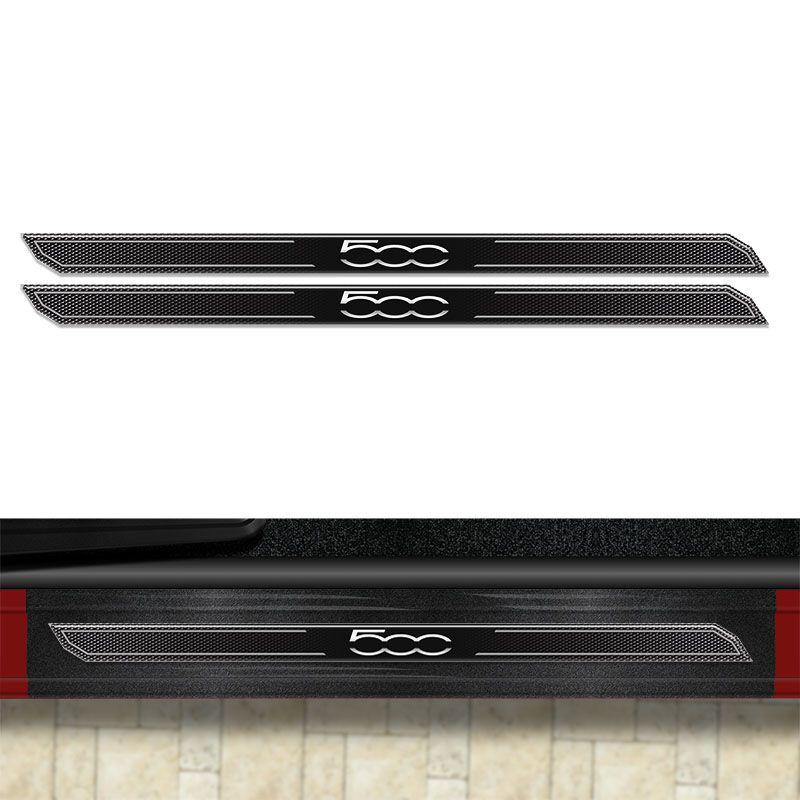 Kit Soleira Diamante Fiat 500 2010/17 Com Protetor De Porta