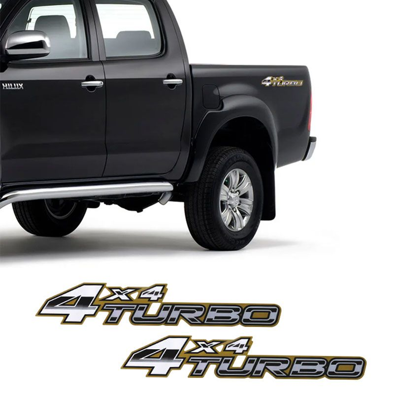 Par de Adesivos Hilux 2005/2008 4x4 Turbo Dourado