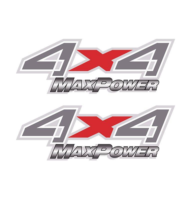 Par de Adesivos Lateral 4x4 F-250 Max Power Emblema Prata