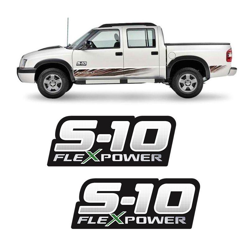 Par de Adesivos S10 Rodeio Flex Power Verde (Porta)