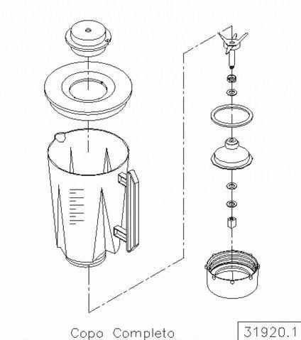 Copo Completo Original Liquidificador Siemsen Skymsen Lt 1,5  - HL SERVICE