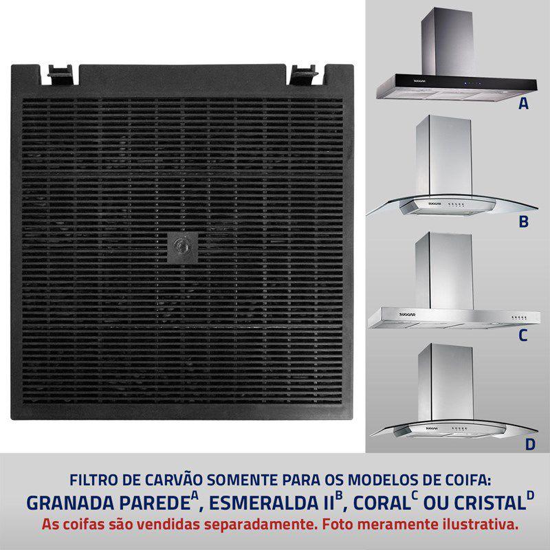 Filtro Carvão Coifa Suggar Granada/Ametista/Diamante/Coral/Cristal/Esmeralda