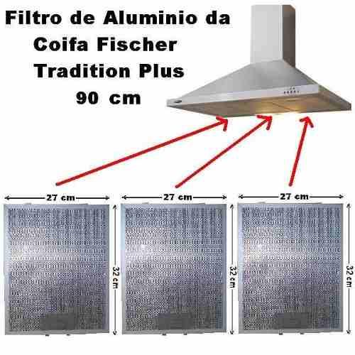 Kit 3 Filtro de Alumínio + Par Filtro Carvão Fischer Tradition Plus 90cm
