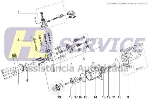 Kit Came + Rolamento Axial + Kit Gaxeta Lava Jato Electrolux Ews10/Ews30  - HL SERVICE