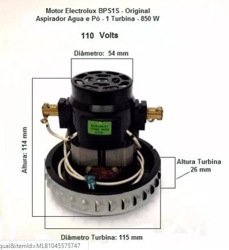 MOTOR ASPIRADOR ELECTROLUX BPS 1S 127V (A99515302) 64503049  - HL SERVICE