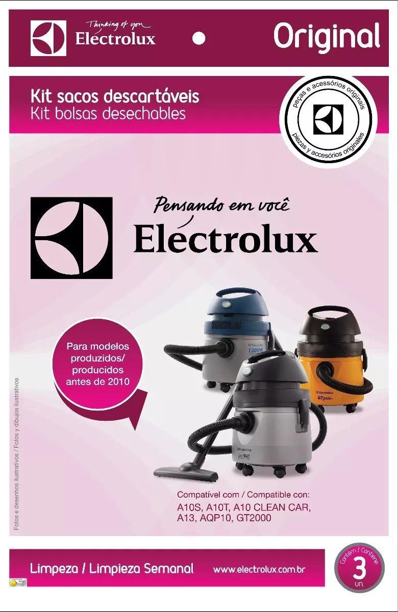 SACO DESCARTÁVEL A10 A13 AQP10 E GT200 ELECTROLUX - 3 UN (DT30AHBR003)