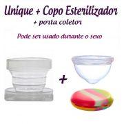 Kit: Coletor Menstrual Unique 60ml + Copo Esterilizador + Porta Coletor