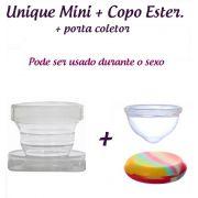 Kit: Coletor Menstrual UNIQUE MINI 30ml + Copo Esterilizador + Saquinho de Tecido