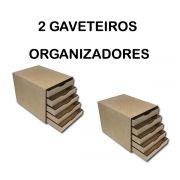 2 Gaveteiros Organizador Para Folhas Sulfite com 5 Gavetas