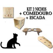 2 Nichos I Love My Cat + Escada + Comedouro