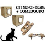 2 Nichos para Gato + Escada + Comedouro em Mdf