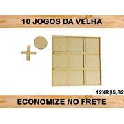 Jogo Da Velha Artesanal De Madeira Mdf 10 Peças