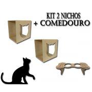 Kit 2 Nichos + Comedouro para Gato Cat