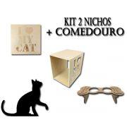 Kit 2 Nichos I Love My Cat + Comedouro