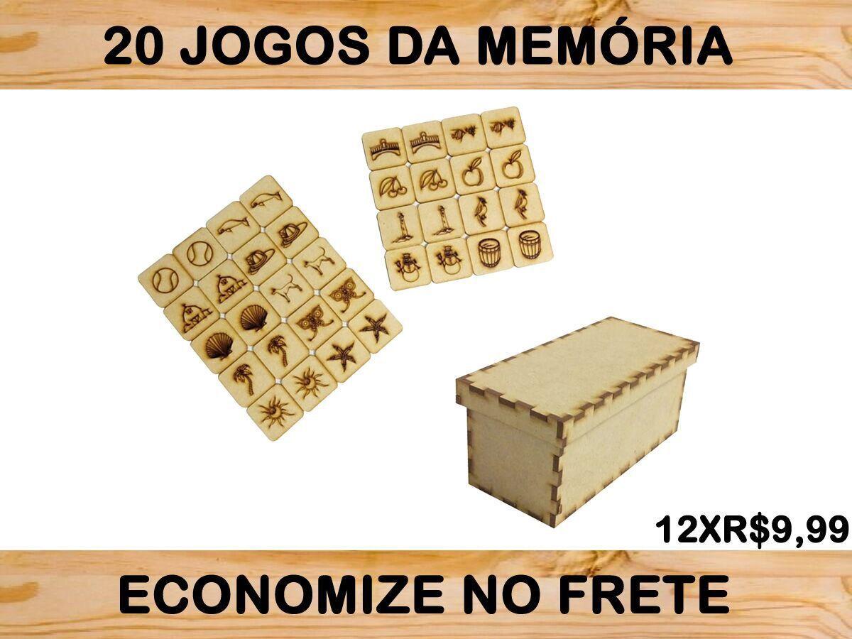 20 Jogos Da Memória 18 Pares (36 Peças) Mdf Cru