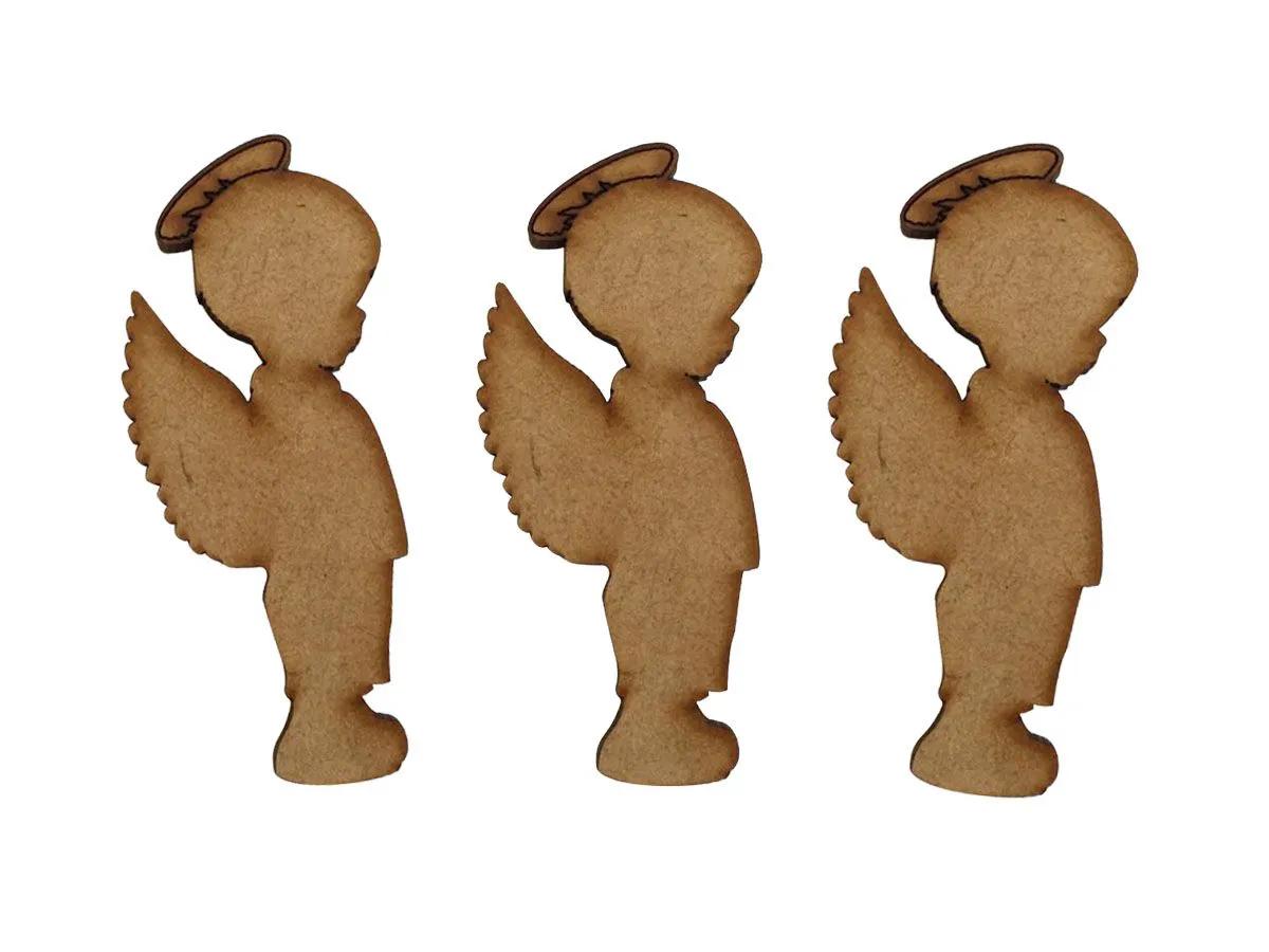25 Aplique Enfeite Anjo Natal Decoração Mdf Madeira Cru