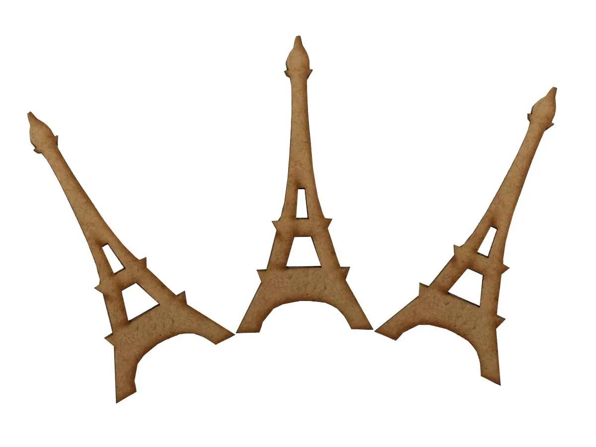 25 Aplique Enfeite Torre Eiffel Paris Casa 8cm Mdf 3mm