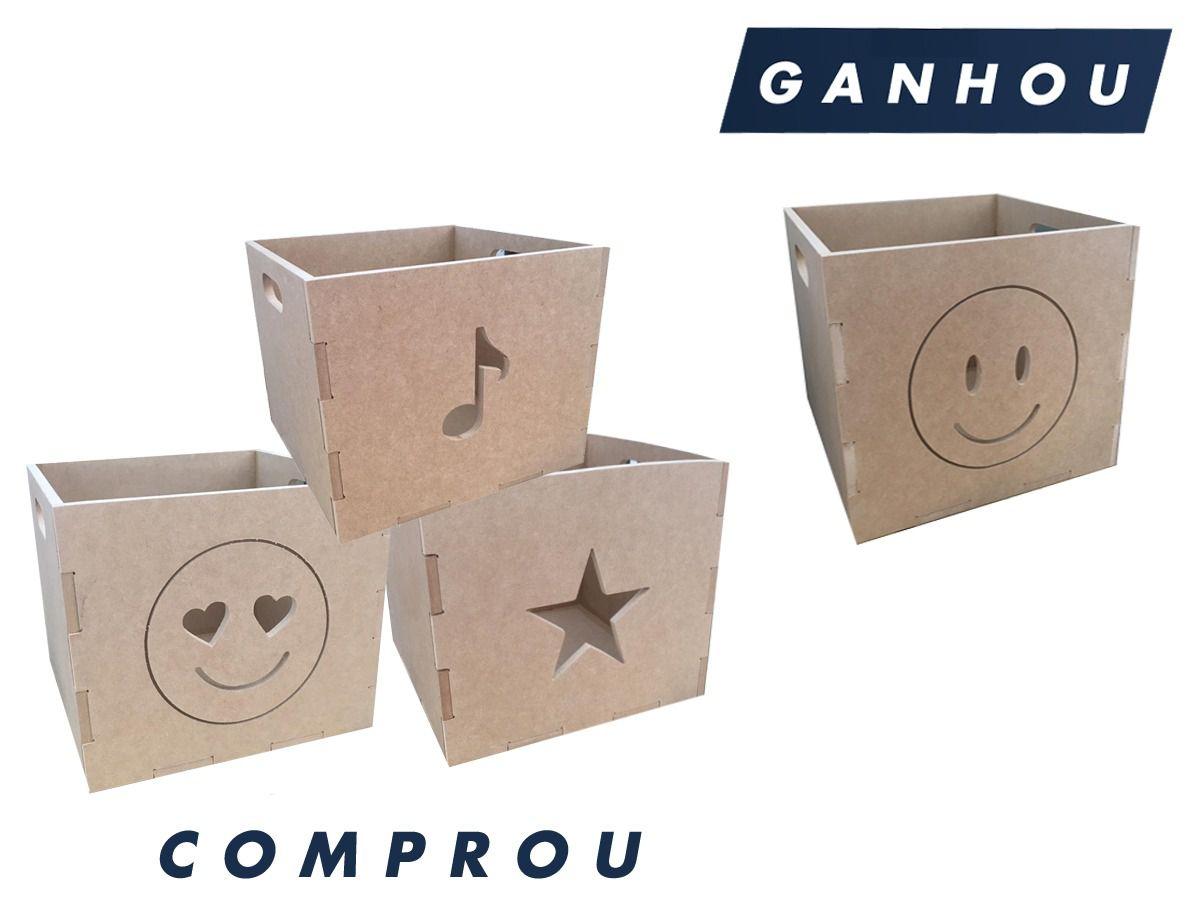 3 Caixotes Organizador De Brinquedos Em Mdf 0940 + Brinde