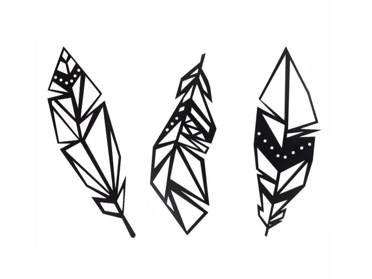 3 Placas Decorativas Penas Decoração Quadros Pena Índio